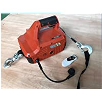 GOWE 992LBS/450KGX4.6M Portable Electric Winch with wireless remote hand winch traction block Electric steel wire rope hoist windlass