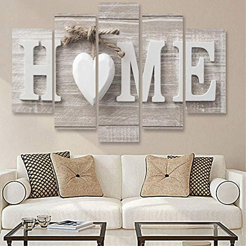 Sholdnut 5Pcs Wall Paintings,Home Wooden Home Letter Prints Photo Paintings Wall Art for Home Decorations Paintings