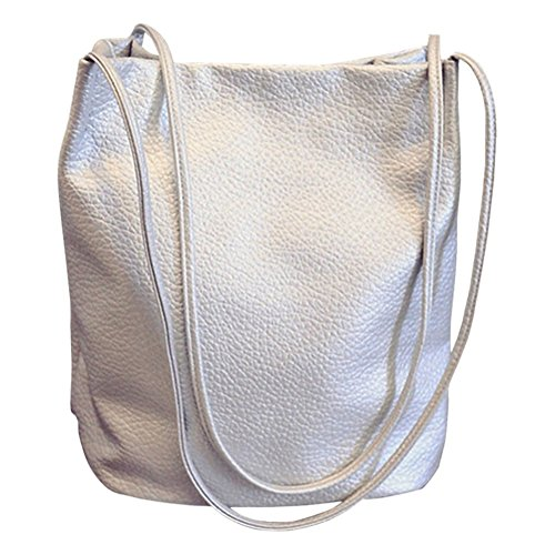 - Bucket Bag Womens Leather Handbags Purse Tote Hobo Shoulder Bags,Silver