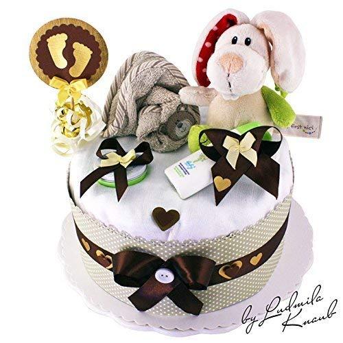 | Babygeschenk f/ür Jungen /& M/ädchen Windeltorte neutral Taufe 1 St/öckig Hase Braun//Beige Babyshower MomsStory Geschenk zur Geburt