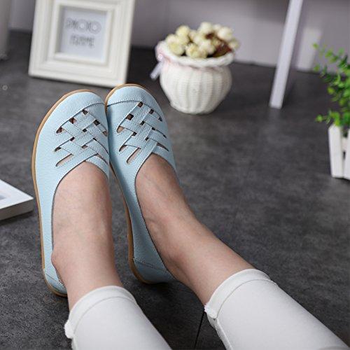 Fereshte Femmes Découpe Mocassins En Cuir Véritable Casual Mocassin Chaussures De Conduite Intérieur Pantoufles Plates Slip-on Ciel Bleu