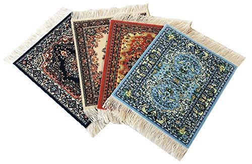 (Set of 4 Rug Table Coasters | Oriental Design Fabric Carpet Drink Mats (Mix-1))