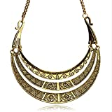 Pashal Antiqued Ethnic Tribal Gold Clavicle Bib Necklace Choker
