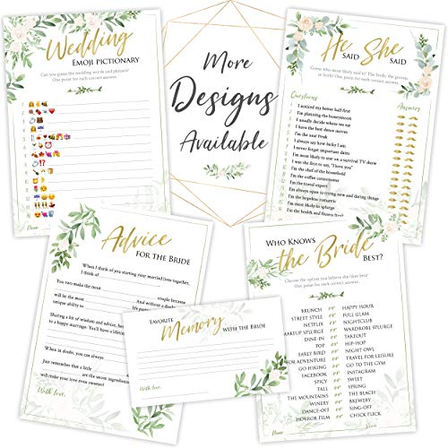 Bridal Shower Games | Set of 5 Activities | 50 Sheets Each | Floral Rustic Greenery Theme | Includes Marriage Advice Cards Bridal Emoji | Wedding Shower Decorations Favors Party Supplies
