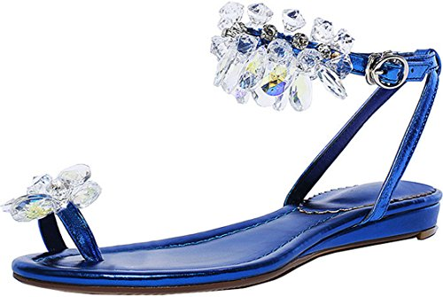 Crystal Flat Sandal Imitated Laruise Women's Blue Leather qwB0pvXE