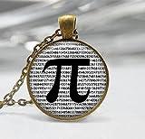 Pi Necklace Math Jewelry Teachers, Mathematics Black and White Art Pendant