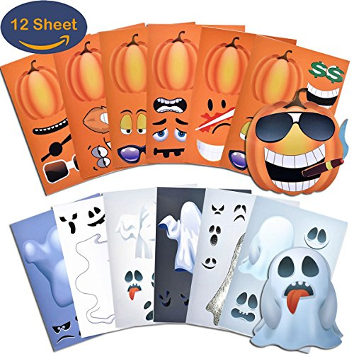 Easy Halloween Kids Crafts (Make a Pumpkin & Ghost Face Stickers 12 Sheets A4 Size for Halloween Craft Decorations – 6 Stickers Pumpkin Face & 6 Ghost Face Stickers)