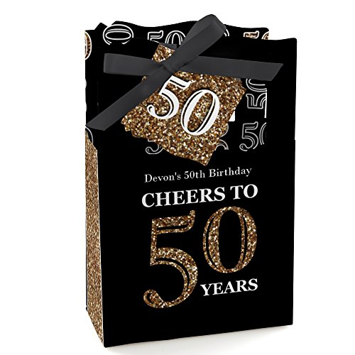 Birthday Personalized Favor - Big Dot of Happiness Custom Adult 50th Birthday - Gold - Personalized Birthday Party Favor Boxes - Set of 12