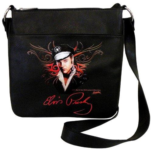 Elvis Presley EV881 Cross Body Bag, Black Messenger Bag