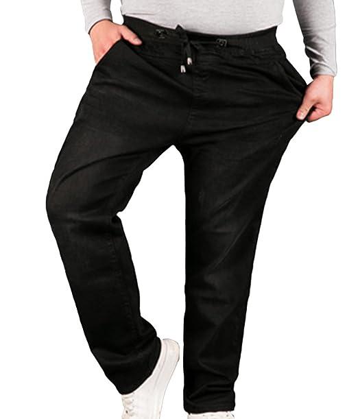 Sentao Pantalones Vaqueros Hombre Talla Extra Pernera Recta Vaqueros Elásticos Casuales Pantalones Con Cordón