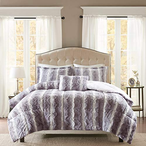 4 Piece Silver Grey Faux Fur Comforter King Set, White Color Adult Bedding Master Bedroom Modern Stylish Lux Microfur Pattern Elegant Wild Animal Themed Traditional, Polyester