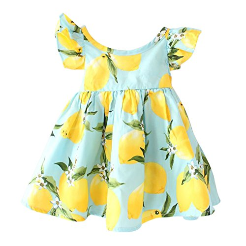 Baby Girl Birthday Party Dress Summer Dress Fruit Lemon Princess Sun Dress Flower Sleeve Clothes Kid