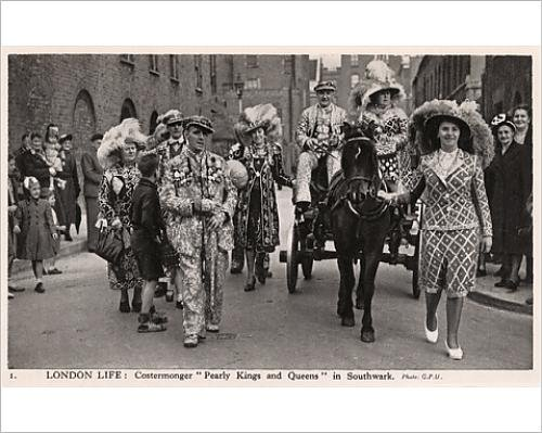Pearly King Costume (Photographic Print of London Life Costermonger Pearly Kings and Queens, Southwark)