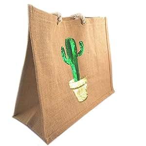 Bolsa de compras 'Cactus'verde dorado beige (yute)- 42x34.5x18.5 cm.