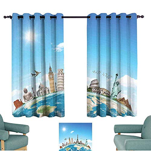 Travel Light Luxury high-end Curtains Famous Monuments of Pisa Taj Mahal Giza Pyramids Paris Landmarks Theme Darkening and Thermal Insulating 55