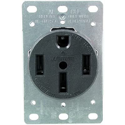 Leviton 279 50 Amp, 125/250 Volt, NEMA 14-50R, 3P, 4W, Flush Mounting Receptacle, Straight Blade, Industrial Grade, Grounding, Side Wired, Steel Strap, Black