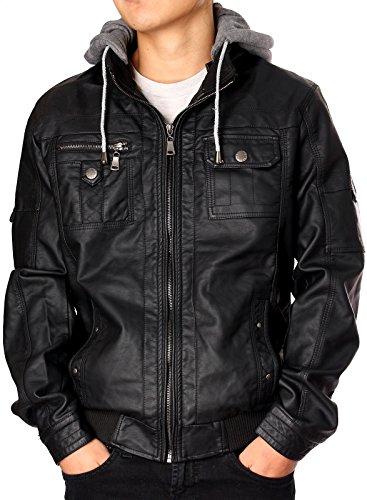 RNZ PREMIUM DESIGNER FAUX LEATHER JACKET M9 S, Black-US Fit (Mens Jackets Leather Designer)