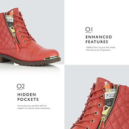 DailyShoes Womens Military Lace Up Buckle Combat Boots Ankle High Exclusive Quilted Credit Card Pocket Bootie Gold Plate Red gxRIn
