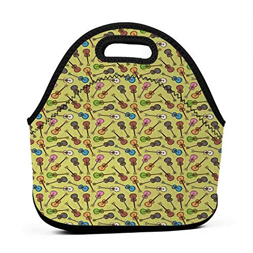 Cute Reusable Lunch Bag Wooden Acoustic Guitar in Different Colors Large Size Multicolor Lunch Bag for Stroller Color1211.7