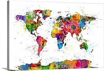 Amazon michael tompsett premium thick wrap canvas wall art michael tompsett premium thick wrap canvas wall art print entitled map of the world map gumiabroncs Choice Image