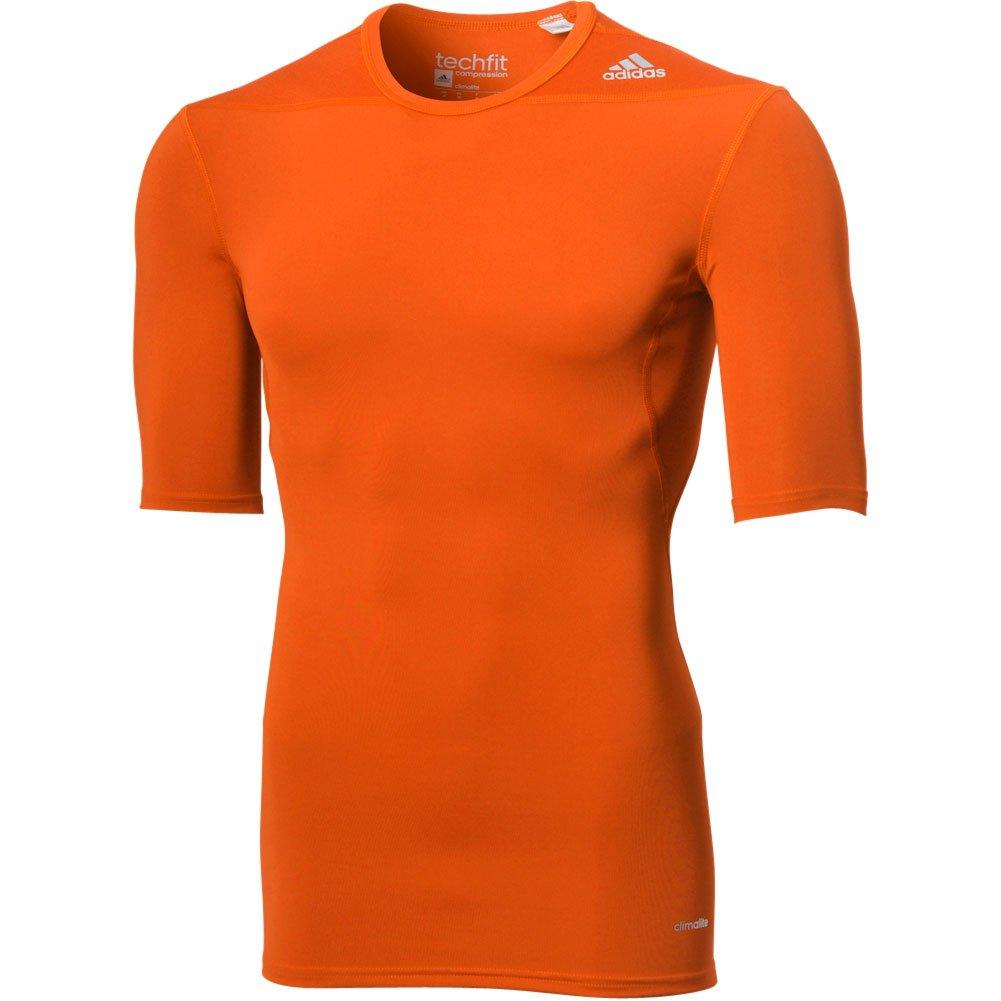 AdidasパフォーマンスメンズAdidasメンズTechfit圧縮ベースレイヤー半袖 B017W1RJQWオレンジ Large