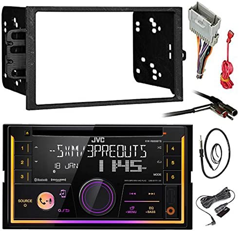 JVC KW-R920BTS Double DIN Bluetooth Car Stereo Receiver CD Player Bundle Combo With Metra installation kit for car stereo Fits Most GM Vehicles Wire Harness Enrock 22 Radio Antenna With Adapter
