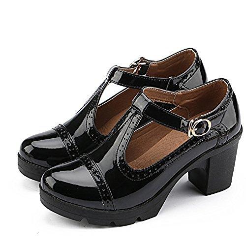 Ezkrwxn Women's Classic T-Strap Platform Mid-Heel Square Toe Oxfords Dress Shoes (777-black-40)