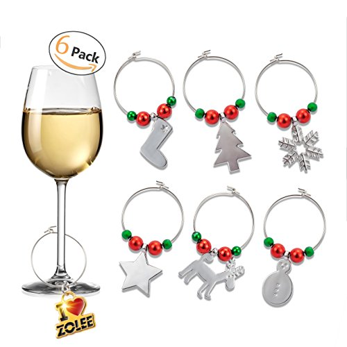 "Zolee Wine Glass Charms, Set of 6 ""Christmas Theme - Snowman"" Electro Plated-Silver Zinc-Alloy with Simple Buckle Design - Glass Goblet Drink Markers, Tags to Mark Your Drink"