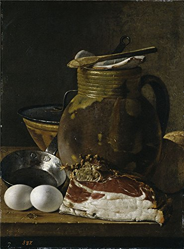 The High Quality Polyster Canvas Of Oil Painting 'Melendez Luis Egidio Bodegon Jamon Huevos Y Recipientes Third Quarter Of 18 Century ' ,size: 10 X 14 Inch / 25 X 34 Cm ,this Beautiful Art Decorative Prints On Canvas Is Fit For Bar Gallery Art And Home Decor And Gifts