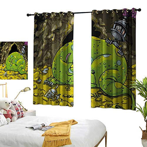 (Living Room Curtain W63 x L63 Dragon,Cute Creature Sleeping on A Pile of Gold and Scared Knight Peering Over Kids Cartoon,Multicolor Bedroom Living Room Dining Room)