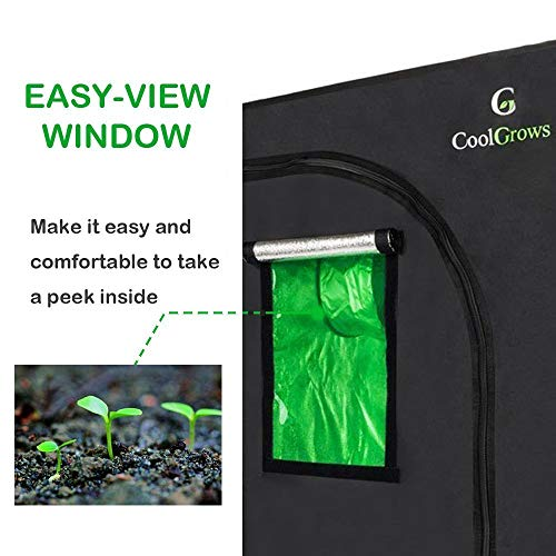 24 x24 x36 Mylar Hydroponic Grow Tent with Obeservation Window and Floor Tray for Indoor Plant Growing 2 x2 24 x24 x36