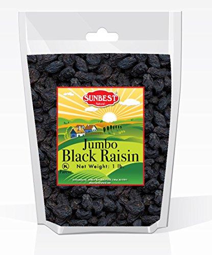 SUNBEST Seedless Black Jumbo Raisins in Resealable Bag … (1 Lb)