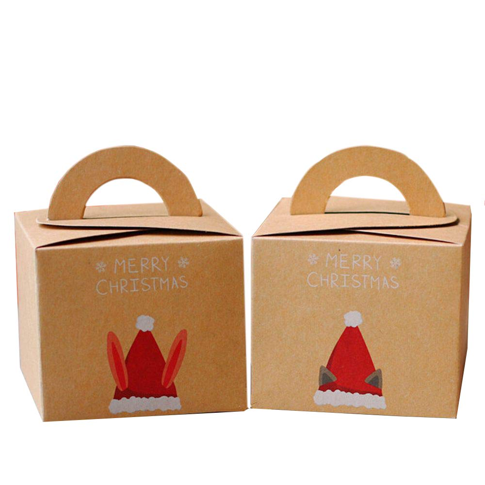 EOPER 10 Pieces Cartoon Kraft Paper Christmas Gift Box Party Wrap Bag Present Packaging Cases for Christmas Eve Candy Cake Apple Boxes