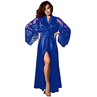 8edd7e43eb Image Unavailable. Image not available for. Color  CMrtew Sexy Ladies Long Lace  Lingerie Sleepwear Babydoll G-String Underwear Women Robe ...