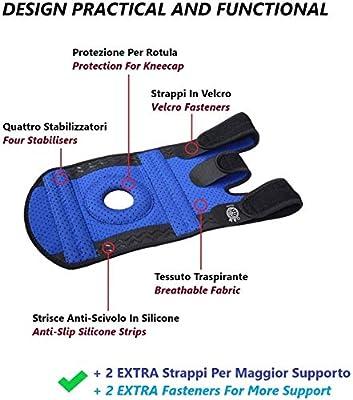 Rodillera y refuerzo de los ligamentos de Neopreno - Soporte de menisco con estabilizadores dobles - Rodillera rotuliana para todos los deportes y rehabilitación: Amazon.es: Salud y cuidado personal