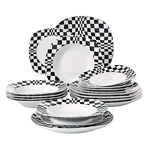 (VEWEET 18-Piece Porcelain Black Mosaics Pattern Kitchen Sets with Dinner, Soup Dessert Plate, Louise)