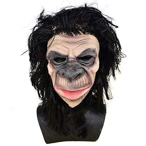 Chimp Monkey Gorilla Head Mask Animal Chimpanzee Apes Full Head Latex Masks Halloween Costume Party