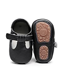 HONGTEYA Baby Boys Girls Fox Mary Jane Sandals Moccasins Shoes Rubber Sole Crib Toddler Leather Walking Prewalker (0-6 Months/US 4/4.53''/See Size Chart, Black)