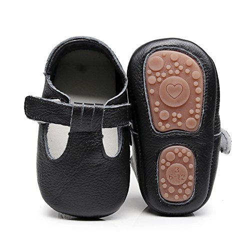 Image of HONGTEYA Baby Boys Girls Fox Mary Jane Sandals Moccasins Shoes Rubber Sole Crib Toddler Leather Prewalker