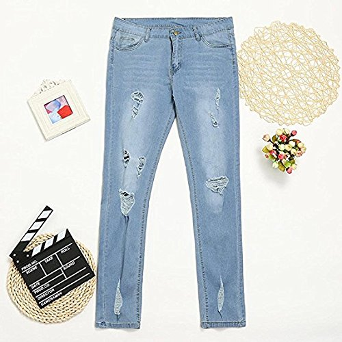 Women Lushmily Mujer Light Blue Para Vaqueros Jeans qttwfZHr