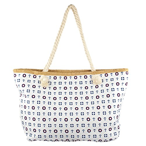 - Lux Accessories Lux Accessories Womens Zip Up Beach Bag Anchor Mix