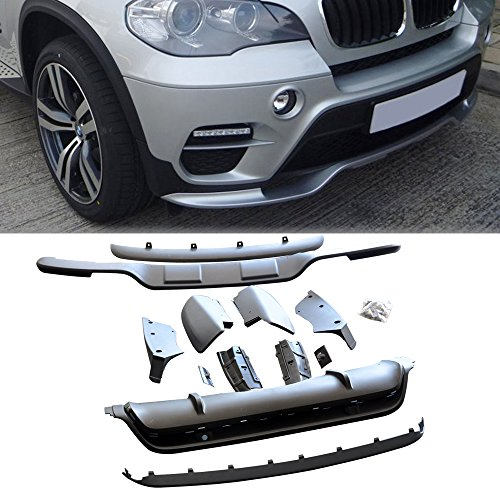 (Bumper Lip Spoiler Kit Fits 2011-2013 BMW X5 E70 | Black PP Front & Rear 13PCS Finisher Under Chin Spoiler Add On by IKON MOTORSPORTS | 2012)