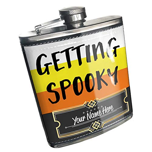 Neonblond Flask Getting Spooky Halloween Candy Corn Custom Name Stainless Steel]()