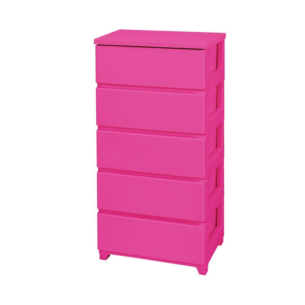 完成品 カラーチェスト5段 幅55 収納ケース ピンク B00PPVDGAU ピンク ピンク