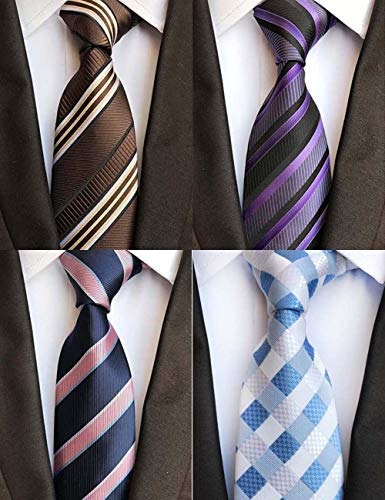 WeiShang Lot 4 PCS Classic Men's Tie Silk Necktie Woven JACQUARD Neck Ties (Style - And Tall Big Silk Tie
