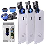 Mcoolbo Universal 4 in 1 camera phone lens Clip-On 180 Degree Fisheye +Wide Angle Lens + Macro Lens + CPL lens Camera Lens Kit for iPhone 6/6 Plus/6S,Laptops,Samsung,HTC,other Smart Phones (Blue)