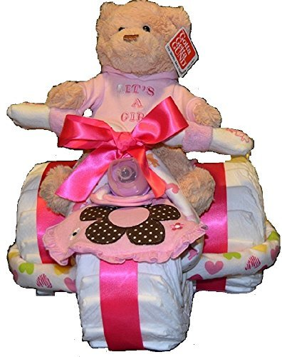 Baby Girl Tricycle Diaper Cake With Toy - Gift for Baby G...