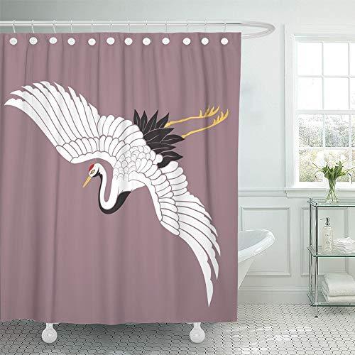 Emvency Decorative Shower Curtain Red Bird Japanese White Crane Kimono Flying Crowned Tancho Uchikake Wedding 66