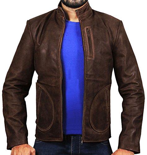 CHICAGO-FASHIONS Mens Davis Rampage Dwayne Rock Distressed Leather Jacket Brown XL