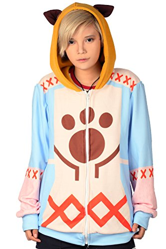 [Xcoser Monster Sweatshirt Hunter Hoodie Cosplay Costume Zip Up for Adult L] (Monster Hunter Cosplay Costume)
